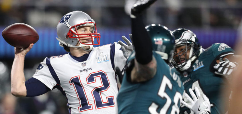 MINNEAPOLIS, MN - FEBRUARY 04: Tom Brady #12 of the New England Patriots in action against the Philadelphia Eagles in Super Bowl LII at U.S. Bank Stadium on February 4, 2018 in Minneapolis, Minnesota.
