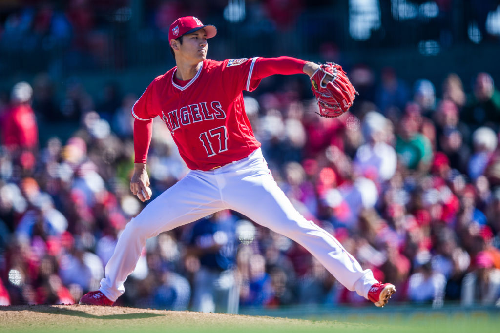 TEMPE, AZ - FEBRUARY 24: Shohei Ohtani #17 pitcher of the Los Angeles Angels of Anaheim pitches against the Milwaukee Brewers during a Spring Training Game at Goodyear Ballpark on February 24, 2018 in Goodyear, Arizona.