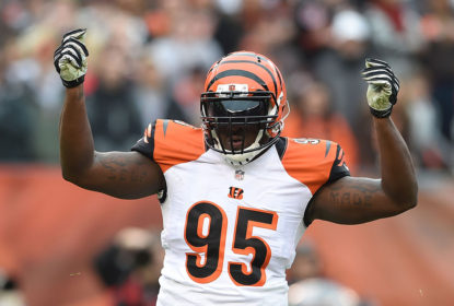 CLEVELAND, OH - DECEMBER 14: Wallace Gilberry #95 of the Cincinnati Bengals celebrates after sacking Johnny Manziel #2 of the Cleveland Browns during the first quarter at FirstEnergy Stadium on December 14, 2014 in Cleveland, Ohio.