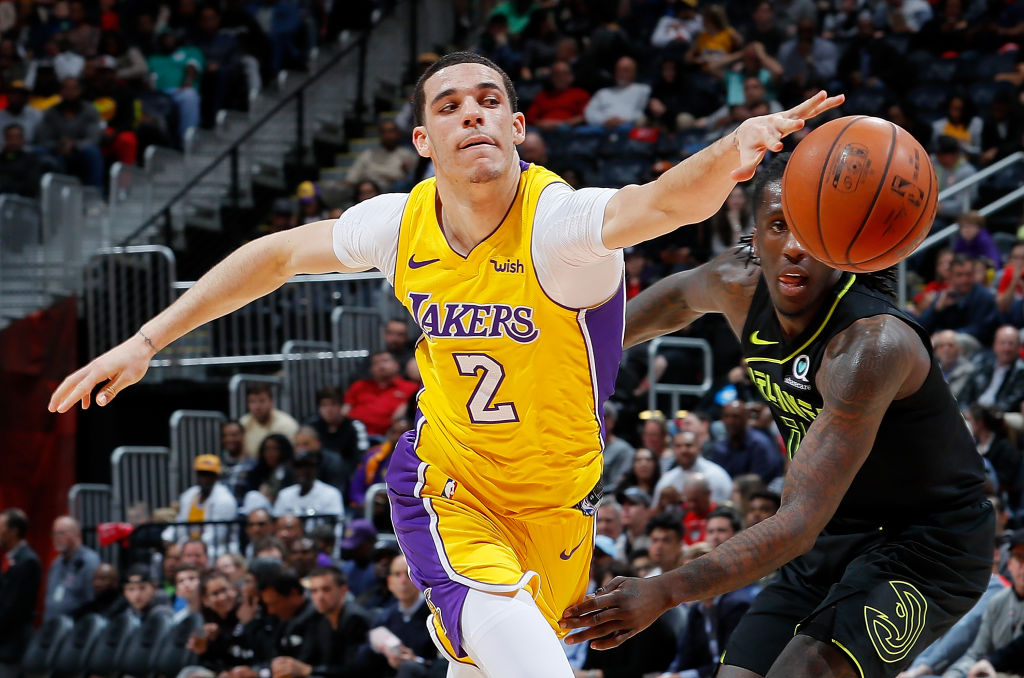 ATLANTA, GA - FEBRUARY 26: Lonzo Ball #2 of the Los Angeles Lakers loses the ball as he drives against Taurean Prince #12 of the Atlanta Hawks at Philips Arena on February 26, 2018 in Atlanta, Georgia