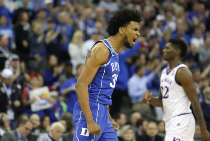 Marvin Bagley III #35 of the Duke Blue Devils celebrates a three point basket against the Kansas Jayhawks during the second half in the 2018 NCAA Men's Basketball Tournament Midwest Regional at CenturyLink Center on March 25, 2018 in Omaha, Nebraska.