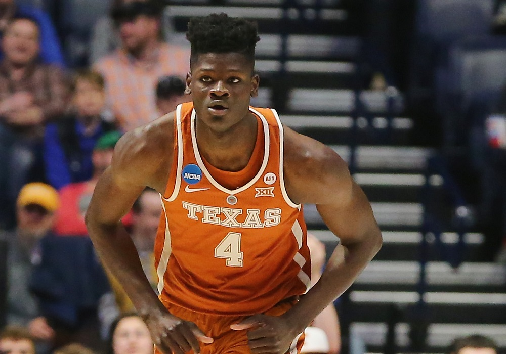 NASHVILLE, TN - MARCH 16: Mohamed Bamba #4 of the Texas Longhorns looks on against the Nevada Wolf Pack during the game in the first round of the 2018 NCAA Men's Basketball Tournament at Bridgestone Arena on March 16, 2018 in Nashville, Tennessee.