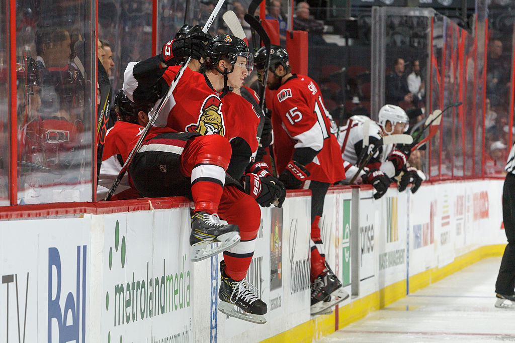 OTTAWA, CANADA - OCTOBER 18: Thomas Chabot #72 of the Ottawa Senators jumps over the boards for his first shift during his first career NHL game in a game against the Arizona Coyotes at Canadian Tire Centre on October 18, 2016 in Ottawa, Ontario, Canada.