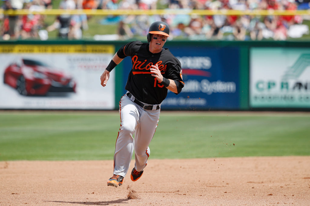 Chance Sisco #15 of the Baltimore Orioles runs the bases during a Grapefruit League spring training game against the Philadelphia Phillies at Spectrum Field on March 25, 2018 in Clearwater, Florida. The Orioles won 6-5.