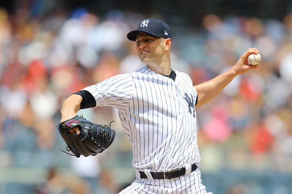 NEW YORK, NY - JULY 29: J.A. Happ #34 of the New York Yankees pitches in the first inning against the Kansas City Royals at Yankee Stadium on July 29, 2018 in the Bronx borough of New York City. New York Yankees defeted the Kansas City Royals 6-3