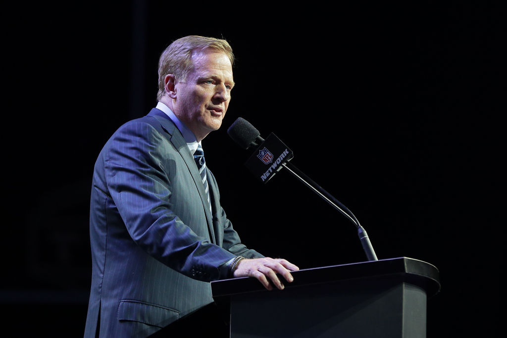 PHILADELPHIA, PA - APRIL 27: NFL Commissioner Roger Goodell during the first round of the 2017 NFL Draft at the NFL Draft Theater on April 27, 2017 in Philadelphia, PA.
