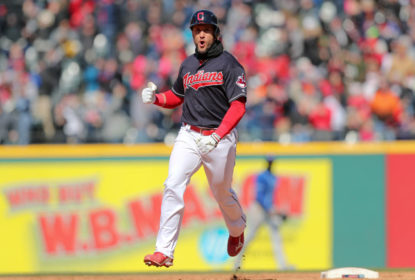 Cleveland Indians catcher Yan Gomes (7) celebrates as he rounds the bases after hitting a 2-run walk-off home run during the ninth inning of the Major League Baseball game between the Kansas City Royals and Cleveland Indians on April 8, 2018, at Progressive Field in Cleveland, OH. Cleveland defeated Kansas City 3-2.