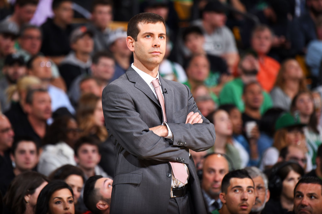 BOSTON, MA - MAY 27: Head Coach Brad Stevens of the Boston Celtics looks on during Game Seven of the Eastern Conference Finals of the 2018 NBA Playoffs between the Cleveland Cavaliers and Boston Celtics on May 27, 2018 at the TD Garden in Boston, Massachusetts