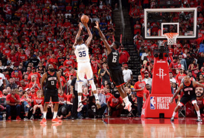 HOUSTON, TX - MAY 14: Kevin Durant #35 of the Golden State Warriors shoots the ball against the Houston Rockets during Game One of the Western Conference Finals of the 2018 NBA Playoffs on May 14, 2018 at the Toyota Center in Houston, Texas