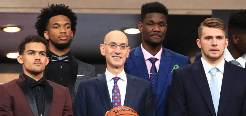 Commissioner Adam Silver (C) poses with NBA Draft Prospects Trae Young, Marvin Bagley III, Deandre Ayton and Luka Doncic before the 2018 NBA Draft at the Barclays Center