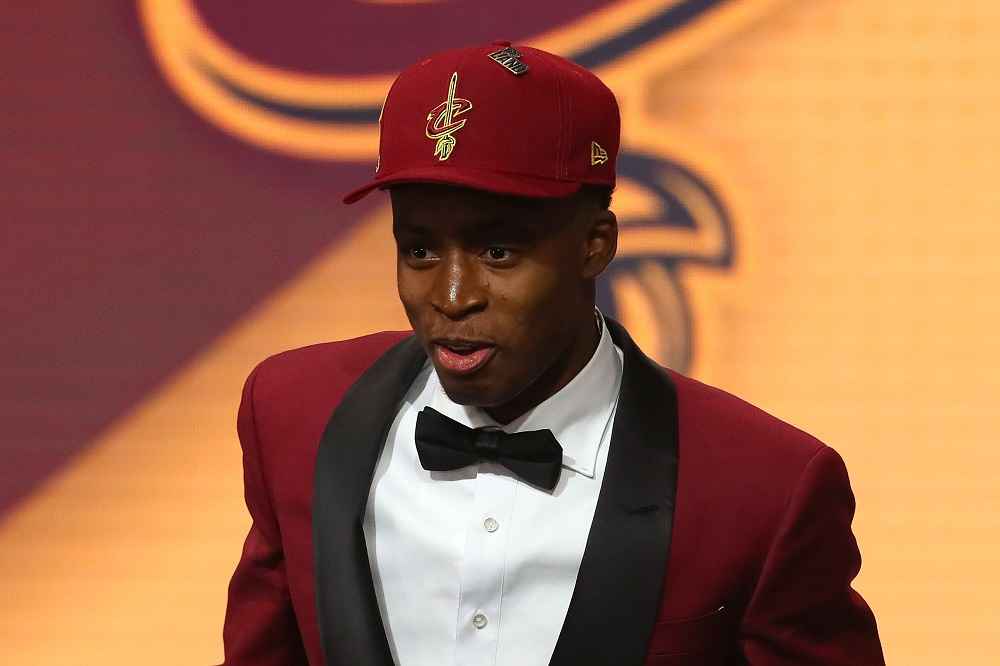 NEW YORK, NY - JUNE 21: Collin Sexton reacts after being drafted eighth overall by the Cleveland Cavaliers during the 2018 NBA Draft at the Barclays Center on June 21, 2018 in the Brooklyn borough of New York City