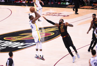 CLEVELAND,OH - June 6: Kevin Durant #35 of the Golden State Warriors shoots the ball over LeBron James #23 of the Cleveland Cavaliers in Game Three of the 2018 NBA Finals on June 6, 2018 at Quicken Loans Arena in Cleveland, Ohio