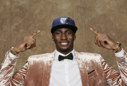 BROOKLYN, NY - JUNE 21: Jaren Jackson Jr. poses for a portrait after being drafted by the Memphis Grizzlies during the 2018 NBA Draft on June 21, 2018 at Barclays Center in Brooklyn, New York
