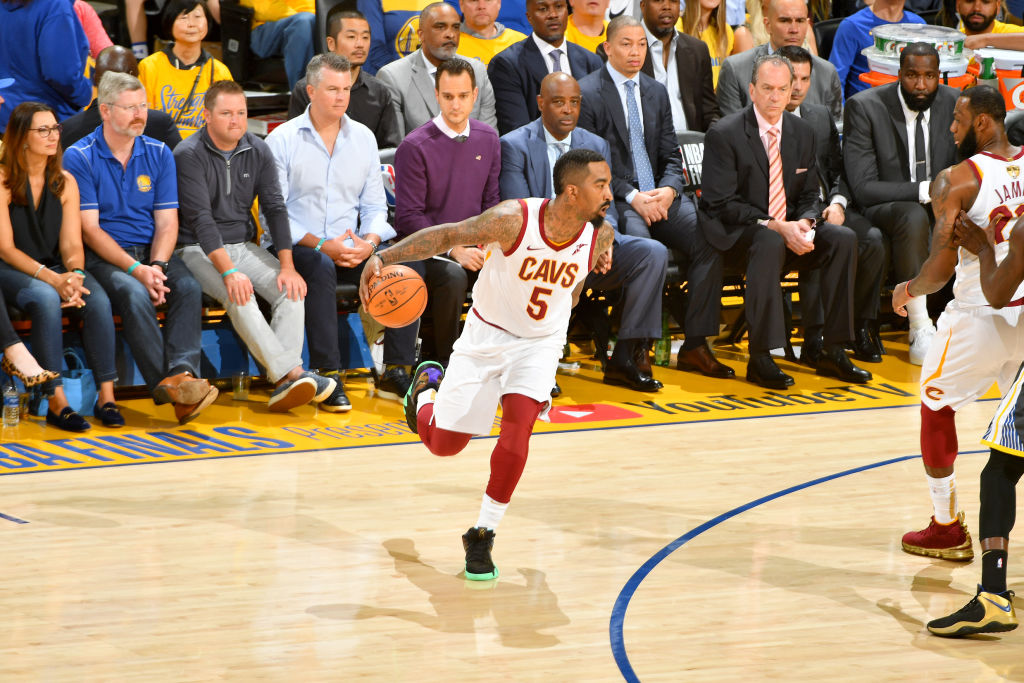OAKLAND, CA - JUNE 3: JR Smith #5 of the Cleveland Cavaliers handles the ball against the Golden State Warriors in Game Two of the 2018 NBA Finals on June 3, 2018 at ORACLE Arena in Oakland, California