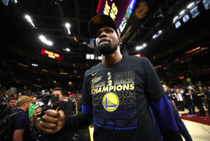 Kevin Durant #35 of the Golden State Warriors celebrates after defeating the Cleveland Cavaliers during Game Four of the 2018 NBA Finals at Quicken Loans Arena