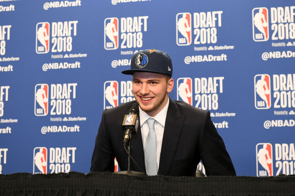 BROOKLYN, NY - JUNE 21: Luka Doncic speaks to the media after being selected third overall at the 2018 NBA Draft on June 21, 2018 at the Barclays Center in Brooklyn, New York