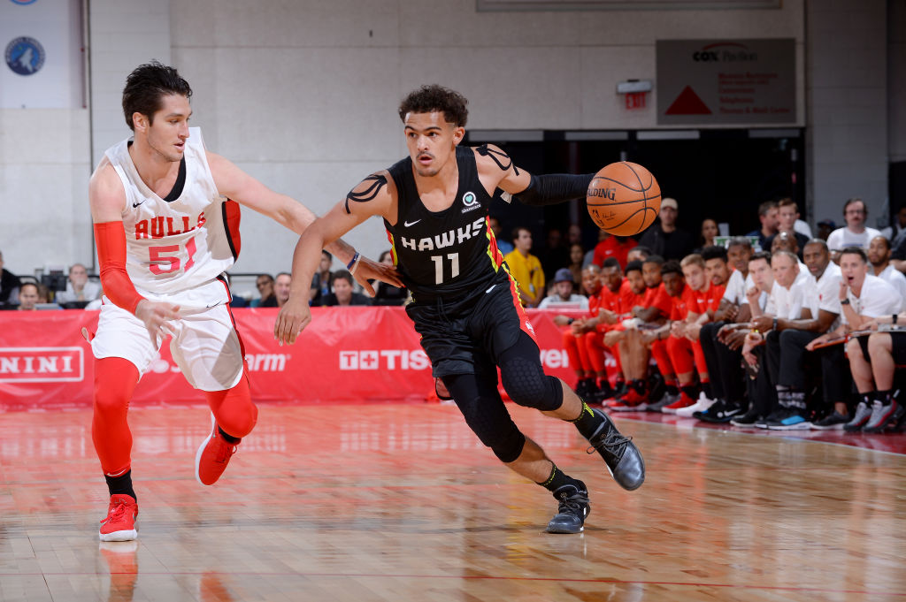 LAS VEGAS, NV - JULY 10: Trae Young #11 of the Atlanta Hawks handles the ball against the Chicago Bulls during the 2018 Las Vegas Summer League on July 10, 2018 at the Cox Pavilion in Las Vegas, Nevada