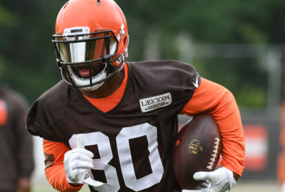 BEREA, OH - JUNE 12, 2018: Wide receiver Jarvis Landry #80 of the Cleveland Browns carries the ball during a mandatory mini camp on June 12, 2018 at the Cleveland Browns training facility in Berea, Ohio
