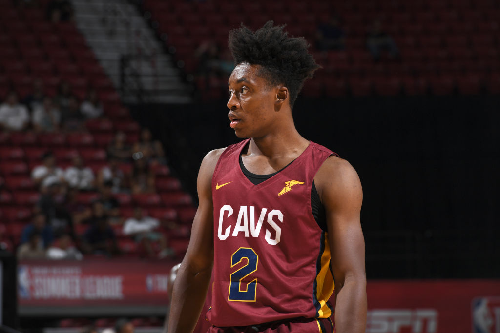 LAS VEGAS, NV - JULY 14: Collin Sexton #2 of the Cleveland Cavaliers looks on during the game against the Houston Rockets during the 2018 Las Vegas Summer League on July 14, 2018 at the Thomas & Mack Center in Las Vegas, Nevada