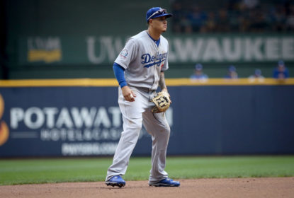 MILWAUKEE, WI - JULY 22: Manny Machado #8 of the Los Angeles Dodgers plays shortstop in the seventh inning against the Milwaukee Brewers at Miller Park on July 22, 2018 in Milwaukee, Wisconsin