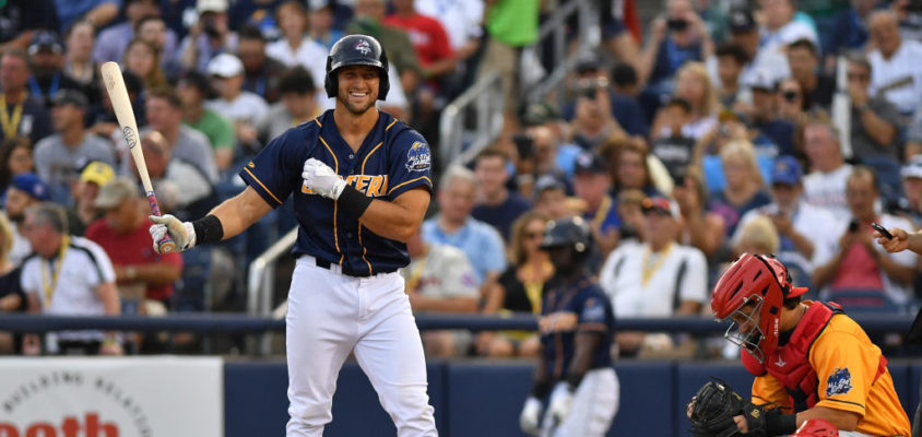 TRENTON, NJ - JULY 11: Tim Tebow #15 of the Eastern Division All Stars at bat in the second inning during the 2018 Eastern League All Star Game at Arm & Hammer Park on July 11, 2018 in Trenton, New Jersey