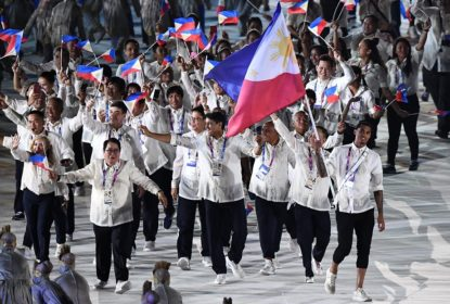 Flag bearer Jordan Clarkson of the Philippines leads delegation during the opening ceremony of the Asian Games 2018 at Gelora Bung Karno Stadium on August 18, 2018 in Jakarta, Indonesia.