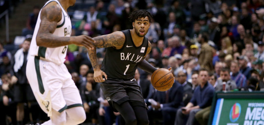 MILWAUKEE, WI - APRIL 05: D'Angelo Russell #1 of the Brooklyn Nets dribbles the ball in the second quarter against the Milwaukee Bucks at the Bradley Center on April 5, 2018 in Milwaukee, Wisconsin