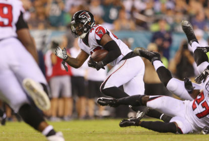 Deion Jones #45 of the Atlanta Falcons runs after intercepting a pass during the second half at Lincoln Financial Field on September 6, 2018 in Philadelphia, Pennsylvania