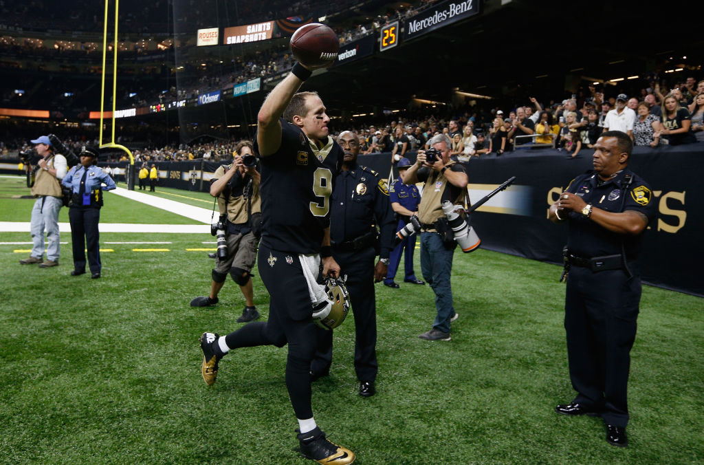 NEW ORLEANS, LA - SEPTEMBER 16: Drew Brees #9 of the New Orleans Saints reacts to their 21-18 win over the Cleveland Browns at Mercedes-Benz Superdome on September 16, 2018 in New Orleans, Louisiana