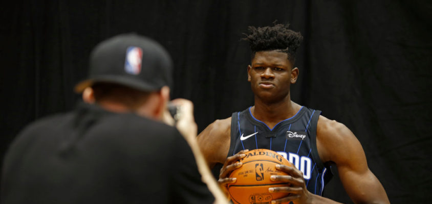 TARRYTOWN, NY - AUGUST 12: Mohamed Bamba #5 of the the Orlando Magic poses for a photo during the 2018 NBA Rookie Shoot on August 12, 2018 at the Madison Square Garden Training Center in Tarrytown, New York
