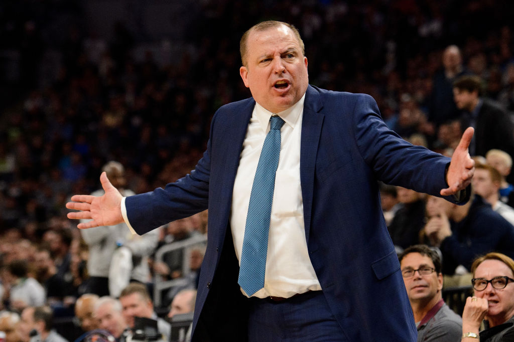 MINNEAPOLIS, MN - APRIL 11: Head coach Tom Thibodeau of the Minnesota Timberwolves reacts as his team plays against the Denver Nuggets during the game on April 11, 2018 at the Target Center in Minneapolis, Minnesota. The Timberwolves defeated the Nuggets 112-106