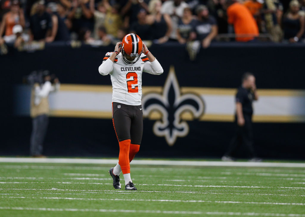 Zane Gonzalez #2 of the Cleveland Browns reacts after missing the extra point during the fourth quarter against the New Orleans Saints at Mercedes-Benz Superdome on September 16, 2018 in New Orleans, Louisiana.