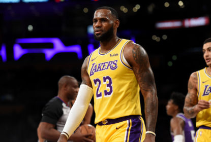 LOS ANGELES, CA - OCTOBER 4: LeBron James #23 of the Los Angeles Lakers looks on during a pre-season game against the Sacramento Kings on October 4, 2018 at Staples Center, in Los Angeles, California