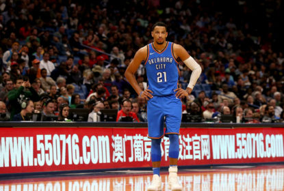 NEW ORLEANS, LA - NOVEMBER 20: Andre Roberson #21 of the Oklahoma City Thunder stands in front of a www.550716.com sign during a NBA game against the New Orleans Pelicans at the Smoothie King Center on November 20, 2017 in New Orleans, Louisiana