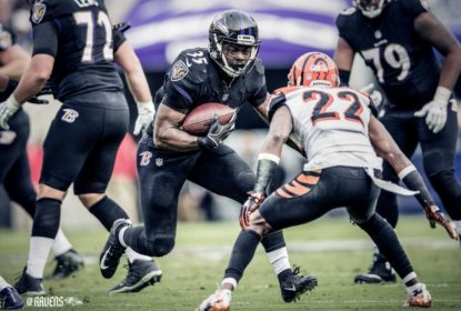 Running back do Baltimore Ravens Gus Edwards é uma das opções para a semana 13 do Fantasy Football da NFL 2018