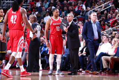 HOUSTON, TX - JANUARY 20: Assistant Coach Jeff Bzdelik of the Houston Rockets speaks with Eric Gordon #10 and Nene Hilario #42 of the Houston Rockets during the game against the Golden State Warriors on January 20, 2018 at the Toyota Center in Houston, Texas. NOTE TO USER: User expressly acknowledges and agrees that, by downloading and or using this photograph, User is consenting to the terms and conditions of the Getty Images License Agreement. Mandatory Copyright Notice: Copyright 2018 NBAE