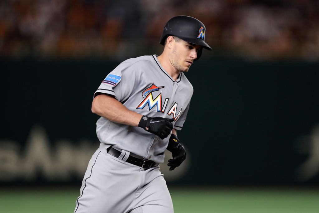 TOKYO, JAPAN - NOVEMBER 08: Catcher J.T. Rrealmuto #11 of the Miami Marlins runs after hitting a solo homer to make it 8-4 in the top of 5th inning during the exhibition game between Yomiuri Giants and the MLB All Stars at Tokyo Dome on November 8, 2018 in Tokyo, Japan
