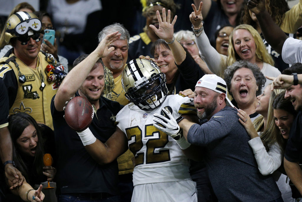 NEW ORLEANS, LOUISIANA - NOVEMBER 18: Mark Ingram #22 of the New Orleans Saints celebrates with fans after scoring a touchdown during the first half against the Philadelphia Eagles at the Mercedes-Benz Superdome on November 18, 2018 in New Orleans, Louisiana