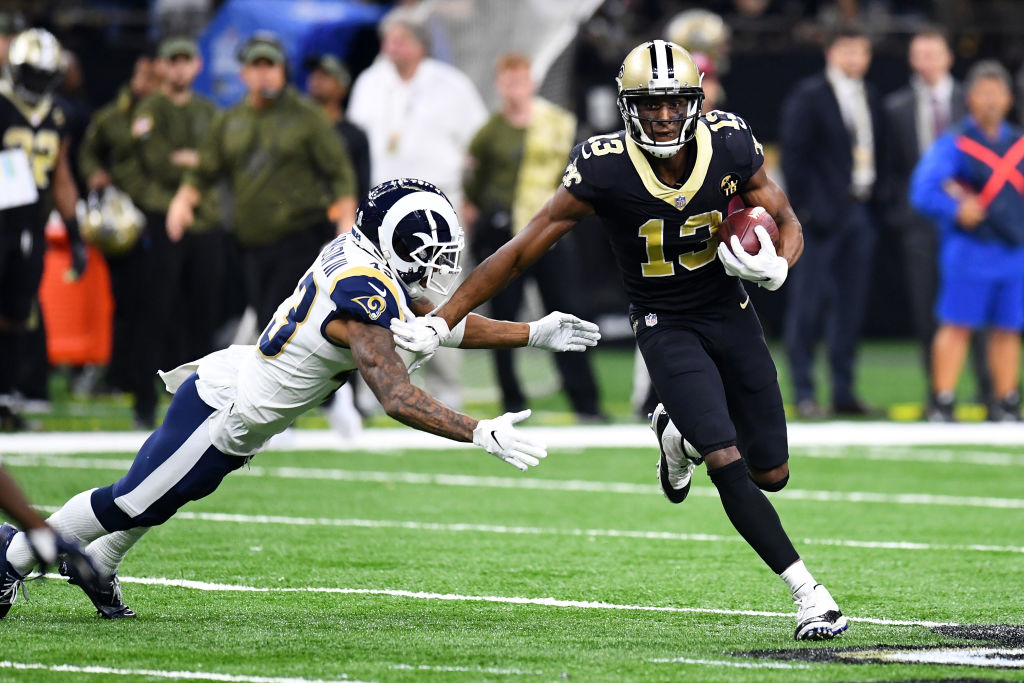 NEW ORLEANS, LA - NOVEMBER 4: Michael Thomas #13 of the New Orleans Saints runs after a catch against Sean Mannion #14 of the Los Angeles Rams at the Mercedes Benz Superdome on November 4, 2018 in New Orleans, Louisiana