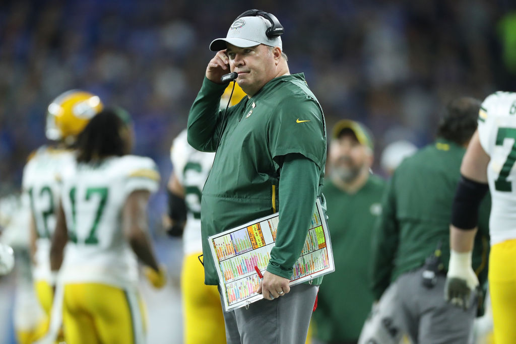DETROIT, MI - OCTOBER 07: Green Bay Packers head football coach Mike McCarthy watches the warms ups prior to the start of the game against the Detroit Lions at Ford Field on October 7, 2018 in Detroit, Michigan. The Lions defeated the Packers 31-23