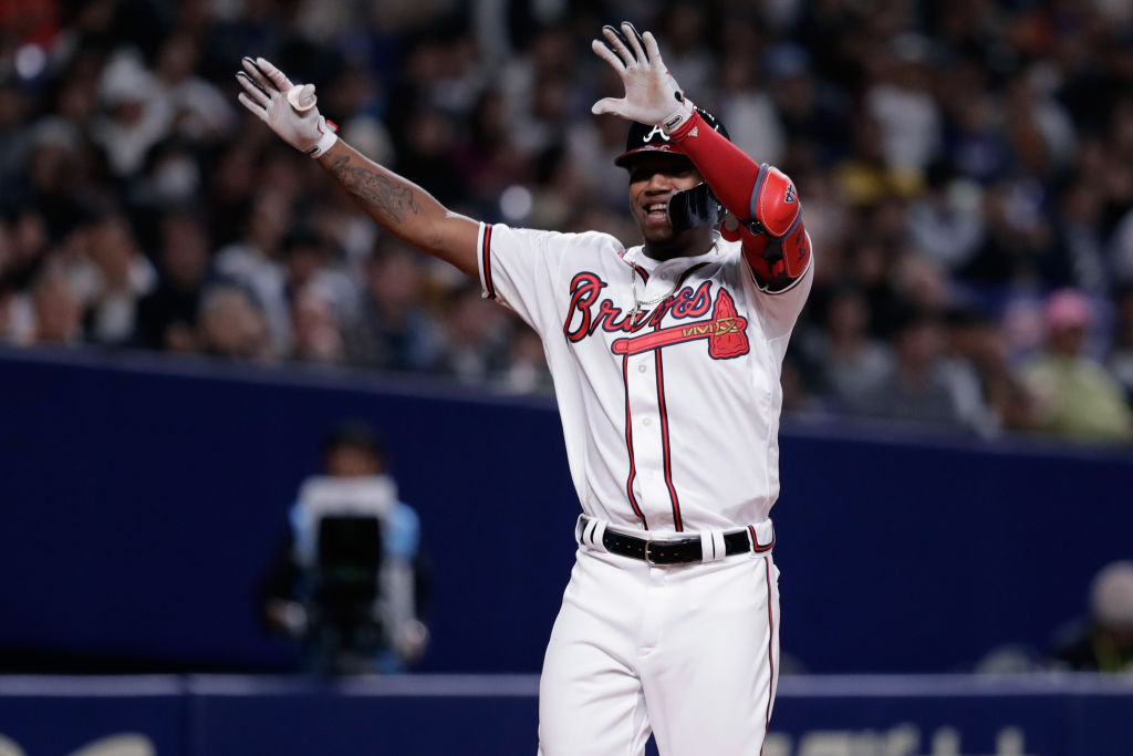 NAGOYA, JAPAN - NOVEMBER 15: Outfielder Ronald Acuna Jr. #13 of the Atlanta Braves celebrates after hitting a solo home run in the bottom of 8th inning during the game six between Japan and MLB All Stars at Nagoya Dome on November 15, 2018 in Nagoya, Aichi, Japan