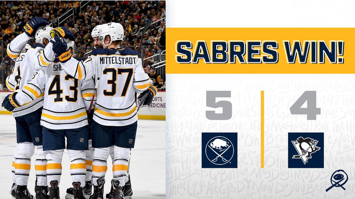 Com grande virada, Sabres derrotam Penguins na prorrogação