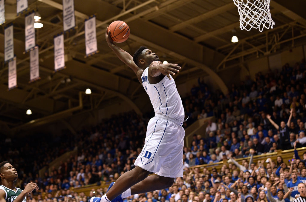 DURHAM, NORTH CAROLINA - NOVEMBER 14: Zion Williamson #1 of the Duke Blue Devils dunks against the Eastern Michigan Eagles during the first half of their game at Cameron Indoor Stadium on November 14, 2018 in Durham, North Carolina
