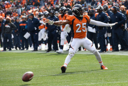 DENVER, CO - OCTOBER 14: Chris Harris (25) of the Denver Broncos celebrates breaking up a pass during the first quarter against the Los Angeles Rams. The Denver Broncos hosted the Los Angelos Rams at Broncos Stadium at Mile High in Denver, Colorado on Sunday, October 14, 2018