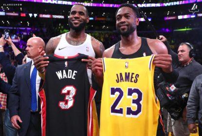 Em último duelo entre LeBron James e Dwyane Wade, Lakers vencem Heat