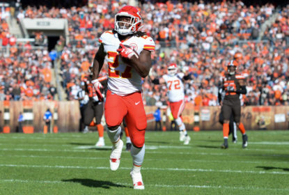 CLEVELAND, OH - NOVEMBER 4, 2018: Running back Kareem Hunt #27 of the Kansas City Chiefs carries the ball in the first quarter of a game against the Cleveland Browns on November 4, 2018 at FirstEnergy Stadium in Cleveland, Ohio. Hunt scored on the play. Kansas City won 37-21
