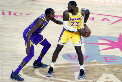 LAS VEGAS, NV- OCTOBER 10: LeBron James #23 of the Los Angeles Lakers handles the ball against Kevin Durant #35 of the Golden State Warriors on October 10, 2018 at T-Mobile Arena in Las Vegas, Nevada