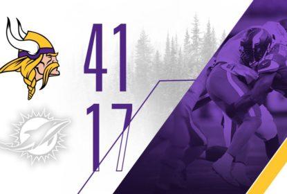 Com 21 pontos no primeiro período e nove sacks, Vikings vencem Dolphins - The Playoffs