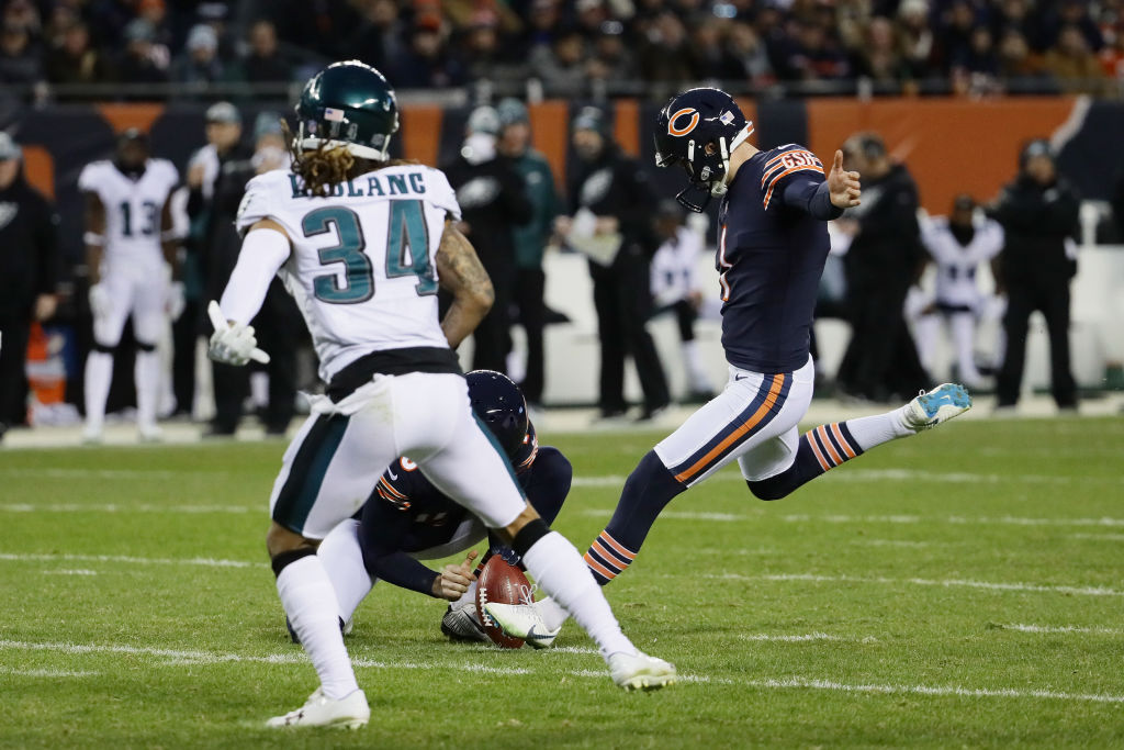 CHICAGO, ILLINOIS - JANUARY 06: Cody Parkey #1 of the Chicago Bears kicks a field goal against the Philadelphia Eagles in the second quarter of the NFC Wild Card Playoff game at Soldier Field on January 06, 2019 in Chicago, Illinois
