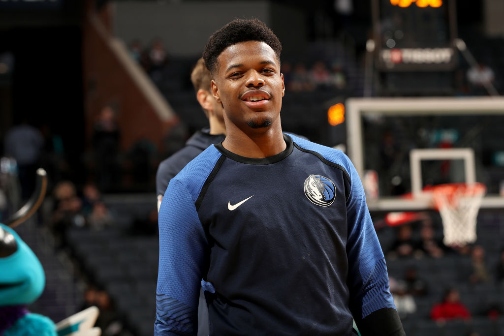 CHARLOTTE, NC - JANUARY 2: Dennis Smith Jr. #1 of the Dallas Mavericks before the game against the Charlotte Hornets on January 2, 2019 at Spectrum Center in Charlotte, North Carolina